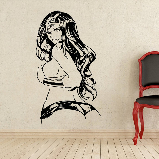 Creative DIY Wall Art Home Decoration Wonder Woman Wall Decal - Superhero vinyl wall decals