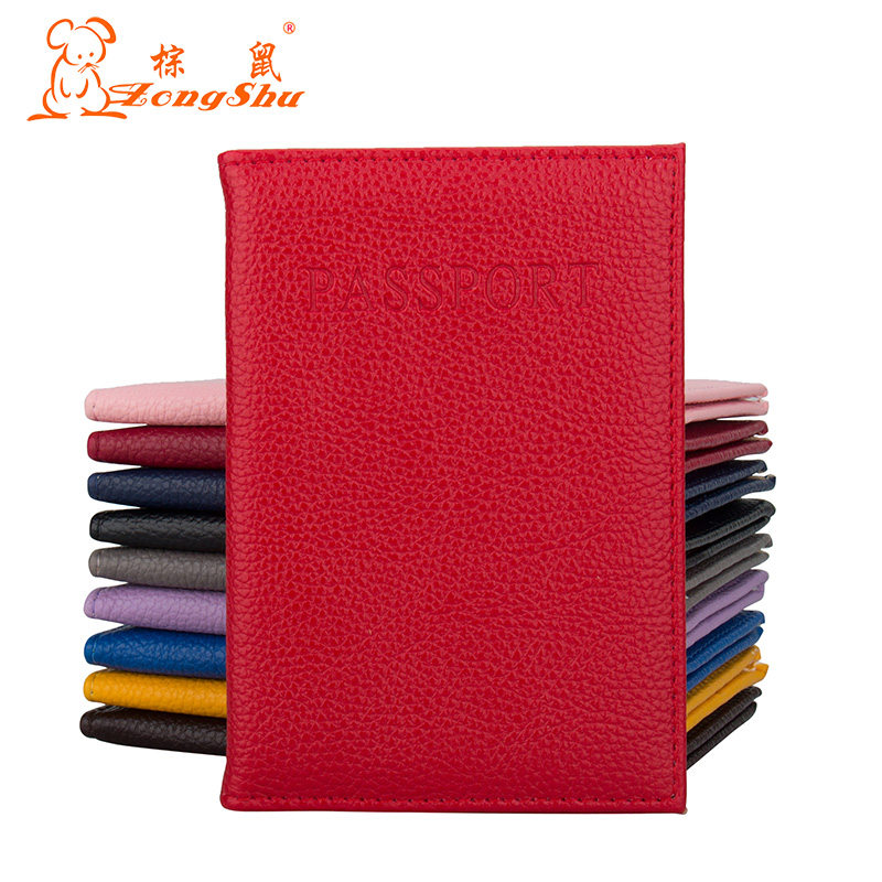 custom Available Coin Purses & Holders Solid Oil Dark Red Pu Leather Passport Holder Built In Rfid Blocking Protect Personal Information