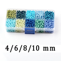 4/6/8/10mm Pearlized Mista Rodada Bola Solta Pérola Pulseira Colar de Contas de Vidro para Jóias fazendo Massa Atacado Verde Azul