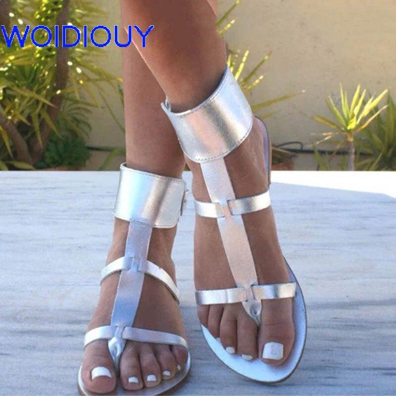 Women Sandals Ankle Cuff Greek Silver Gladiator Slides Summer Flat Casual Shoes Female Beach
