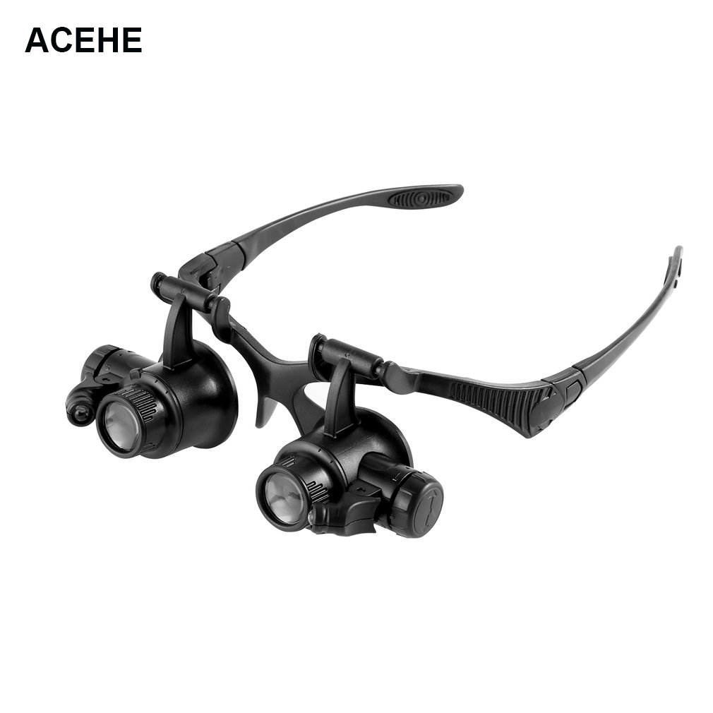 ACEHE <font><b>Watch</b></font> <font><b>Repair</b></font> <font><b>Magnifier</b></font> Magnifying Glasses <font><b>10X</b></font> <font><b>15X</b></font> <font><b>20X</b></font> <font><b>25X</b></font> Dual Eye Jewelry <font><b>With</b></font> <font><b>2</b></font> <font><b>LED</b></font> Lights New Loupe Lens Microscope image