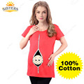 100% Cotton Pregnant Maternity T Shirts Casual Pregnancy  Women Maternity Clothes With Baby Peeking Out Funny Maternity Shirts