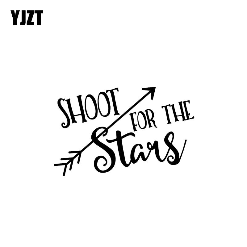 YJZT 14CM*8.9CM Shoot For The Stars Vinyl Decal Arrow Car Sticker Black Silver C10-02192