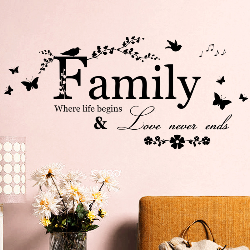 Family Love Never Ends Quote vinyl Wall Sticker Wall Decals Lettering Art Words Stickers Home Decor Wedding Decoration