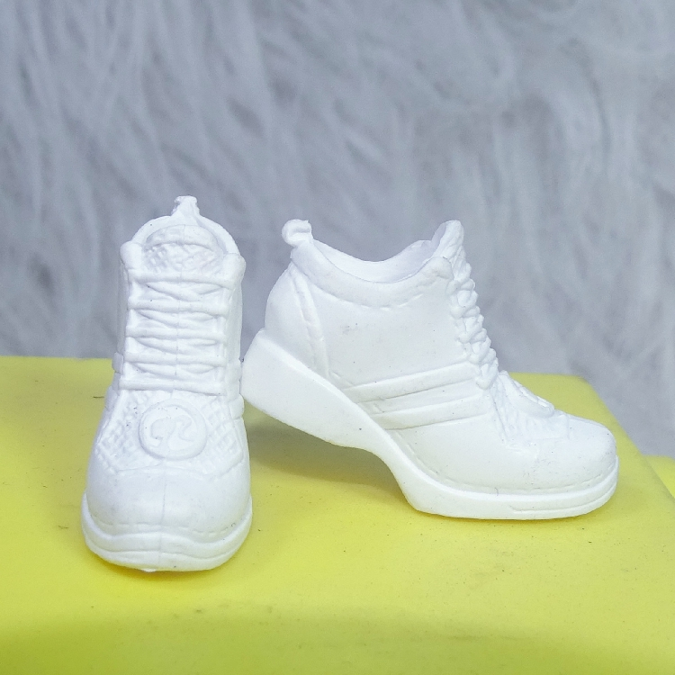 Wholesale Original 1 Pair 1/6 Fashion Doll Shoes White Sneakers For High Heel Foot Flat Shoes For Barbie Doll Shoes 1/6
