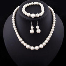 Jewelry Sets Simulated-Pearl Necklace Bracelet Earrings Women Jewelry Sets Inlay CZ Bride Set Women Wholesale Jewelry(China)