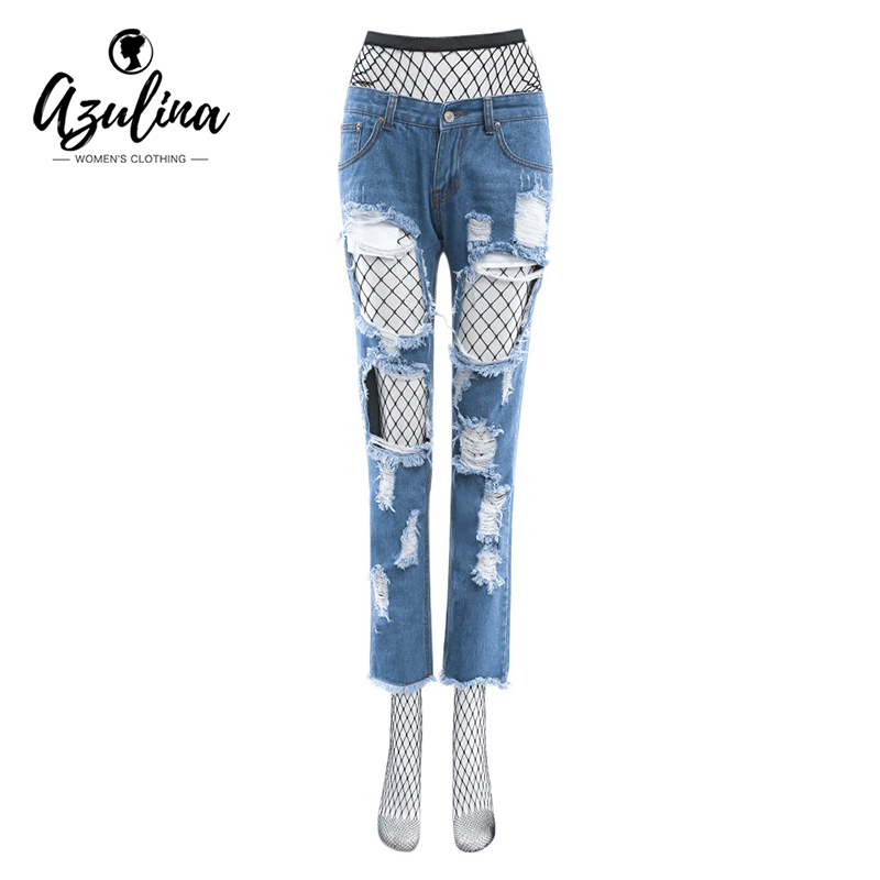 AZULINA Sexy 2017 Women Hole Ripped Frayed Women Denim Jeans with Black Mesh Fishnet Hollow Out Cool Pants Boyfriend Blue Jeans цена