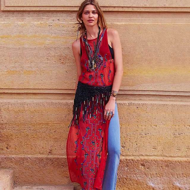 3a5a7a02fb BOHO INSPIRED tunic maxi dress sleeveless hippie chic embroidery sequined  women kaftan summer beach dresses 2018