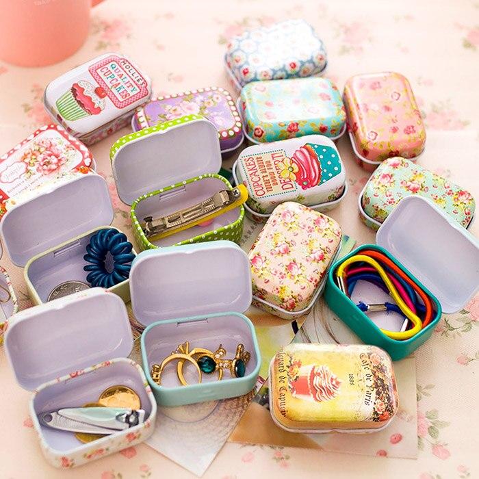 Kolorowe mini puszka zamykane pudełka biżuteria, pudełko cukierków małe pudełka do przechowywania puszki monety kolczyki, słuchawki pudełeczko