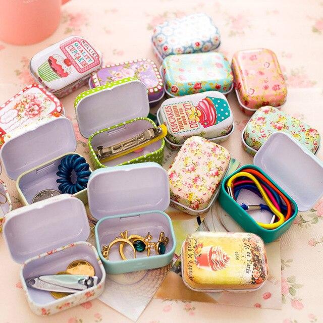 Renkli mini teneke kutu mühürlü kavanoz etiketi kutuları takı, şeker kutusu küçük saklama kutuları kutular sikke küpe, kulaklık hediye kutusu