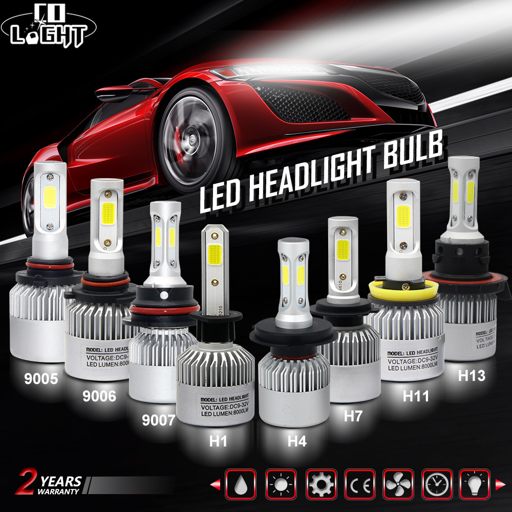 CO LIGHT Car Headlight 72W COB H4 Led H7 Bulb H13 H11 9006 9005 9007 Auto Lamp 8000LM 6500K LED Headlight Bulb Fog Light 12V 24V