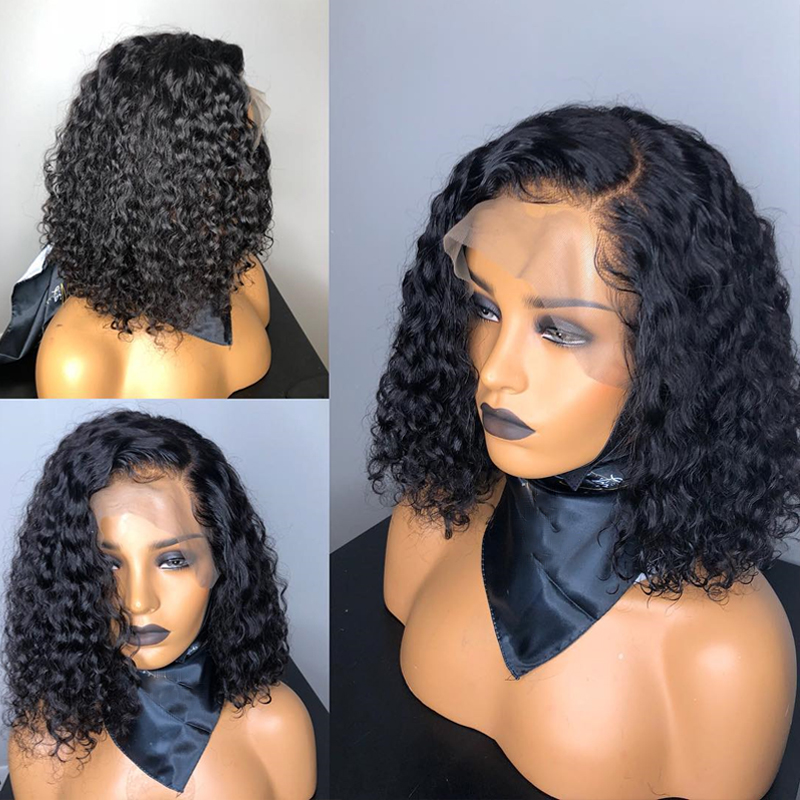 1B/27 Ombre Color Short Curly Lace Front Human Hair Wigs With Baby Hair Pre Plucked Remy Brazilian Lace Bob Wigs Bleached Knots 2