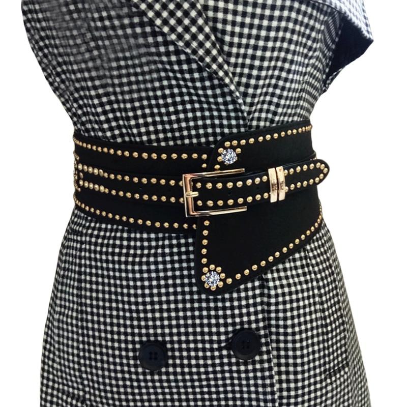 New Hot Rivet Punk Style Wide Belt Women High Quality PU Leather Waistband Lady Fashion Elastic Belt Female Cintos Cinturon