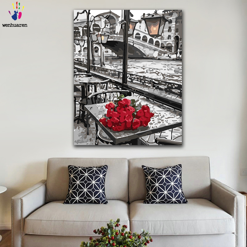 DIY Coloring paint by numbers Valentines Day gift with a bunch of red roses figure paintings by numbers with kits 40x50 framedDIY Coloring paint by numbers Valentines Day gift with a bunch of red roses figure paintings by numbers with kits 40x50 framed