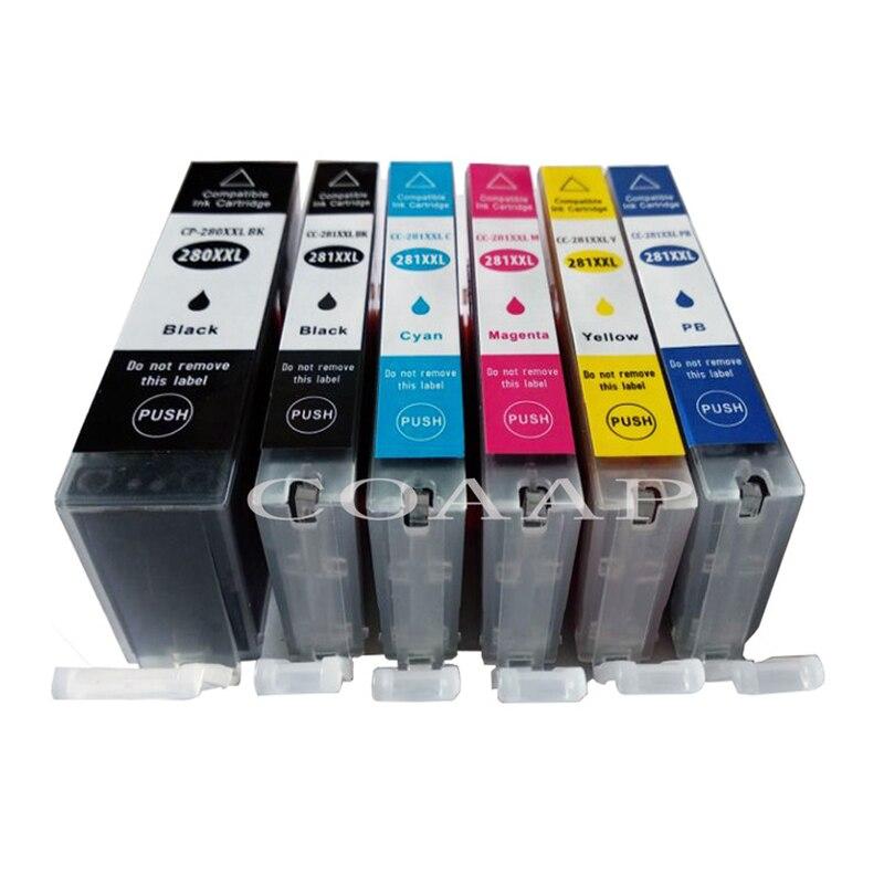 6 pièces plein PGI-280 CLI-281 cartouche d'encre compatible Pour Canon TR7520 TR8520 TS6120 TS8120 TS9120 jet d'encre imprimante PGI-280 CLI-281