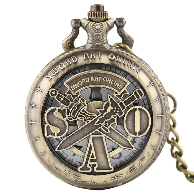 High Quality Retro Vintage Hollow Sword Art Online Bronze Quartz Pocket Watch Men Women Pendant Necklace            Chain Gifts