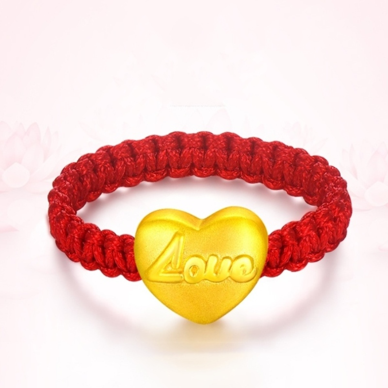 New 999 Pure 24K Yellow Gold 3D 9*7mm Fine Love Heart Woman's Lucky Knitted Ring