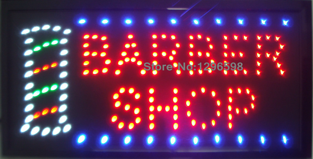 2017 barber shop hot sale custom 10x19 Inch Semi-outdoor Ultra Bright flashing sign of led