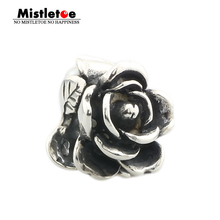 Mistletoe Jewelry Genuine 925 Sterling Silver Rose of June With White Pearl Charms Beads Fit European Troll 3.0mm Bracelet