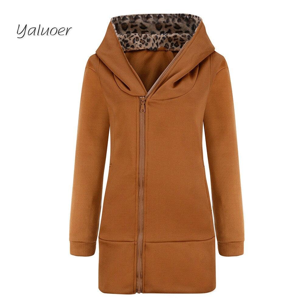 2017 Casual Hooded Sweater Coat Thick Long Sleeved Leopard Cardigan Size Leopard zipper women parkas inc new beige cream latte women s size medium m ombre cardigan sweater $89 095