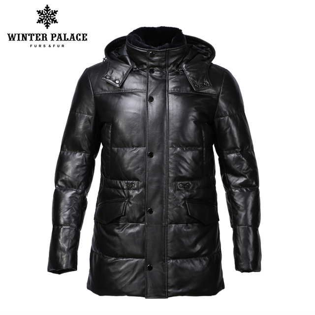 Чистый кожный хлопок зимнее тёплое пальто со съёмным копюшоном средний фасон ЗИМНИЙ ДВОРЕЦ