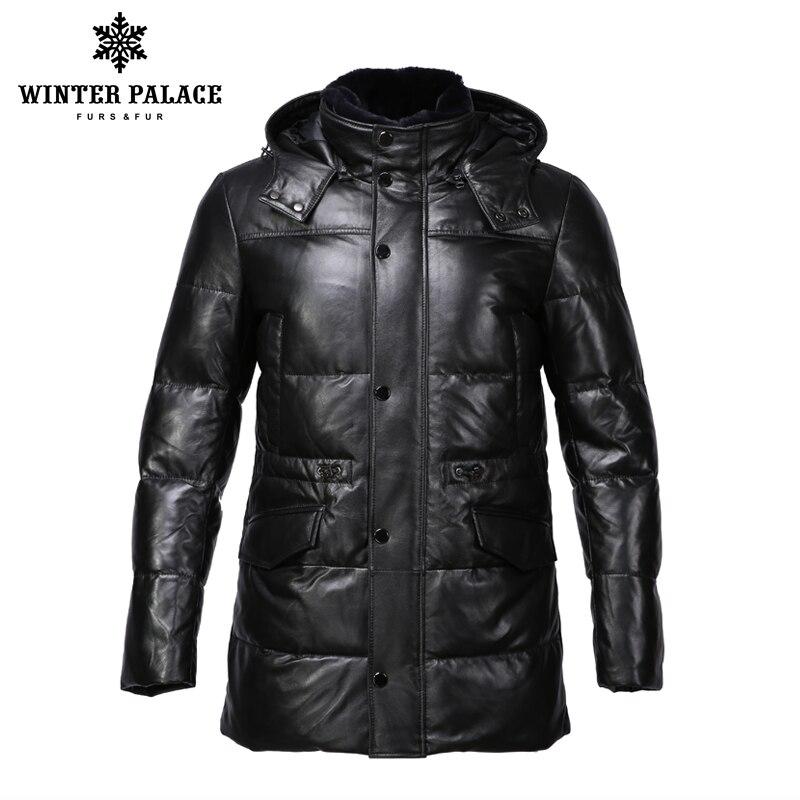 Di stile del vestito di giacca di pelle degli uomini di Portare il cappello giacca di pelle giacca di Cotone Interno mens del cuoio genuino Caldo jaqueta de couro