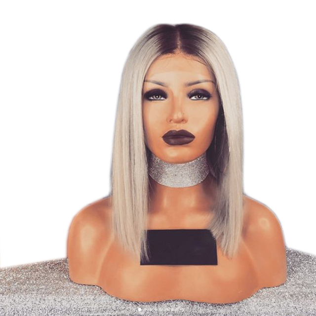 DLME Ash Blonde Wig Synthetic Lace Front Wig With Dark Roots 16Inch Short  Wigs Straight Bob Wig Ombre Wigs For Black Women 593c40a01