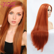 Free Shipping 100cm Synthetic Hair Long straight orange Cosplay Wig Perruque synthetic wigs wholesale price