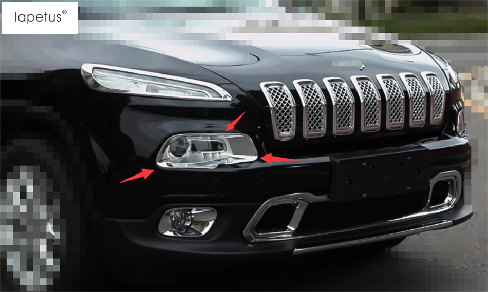 2017 Jeep Cherokee Accessories >> Us 24 78 16 Off Accessories For Jeep Cherokee 2014 2015 2016 2017 Front Face Head Light Lamp Molding Cover Kit Trim 2 Piece 2 Color In Chromium