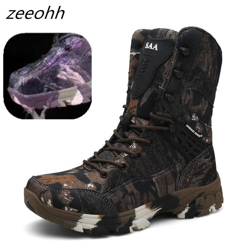 Новая уличная тактическая спортивная мужская обувь с резиновой подошвой, походная обувь, мужские уличные зимние охотничьи ботинки, горные ...