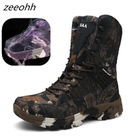 New Outdoor Tactical Sport Men's Shoes rubber sole  Hiking Shoes Male Outdoor Winter Hunting Boots Mountain Shoes Men Army Boots Hiking Shoes     -
