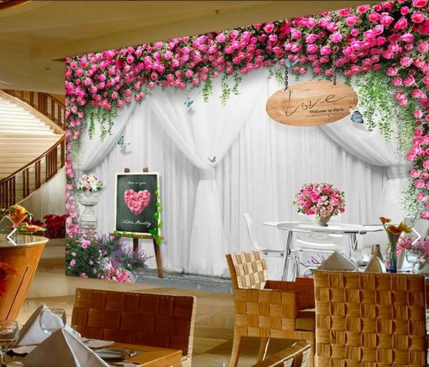 Us 1391 47 Offwedding Rose Background Wallpaper For Hotel Wedding Photography Studio Mural Wallpaper Floral Wallpaper For Living Room In