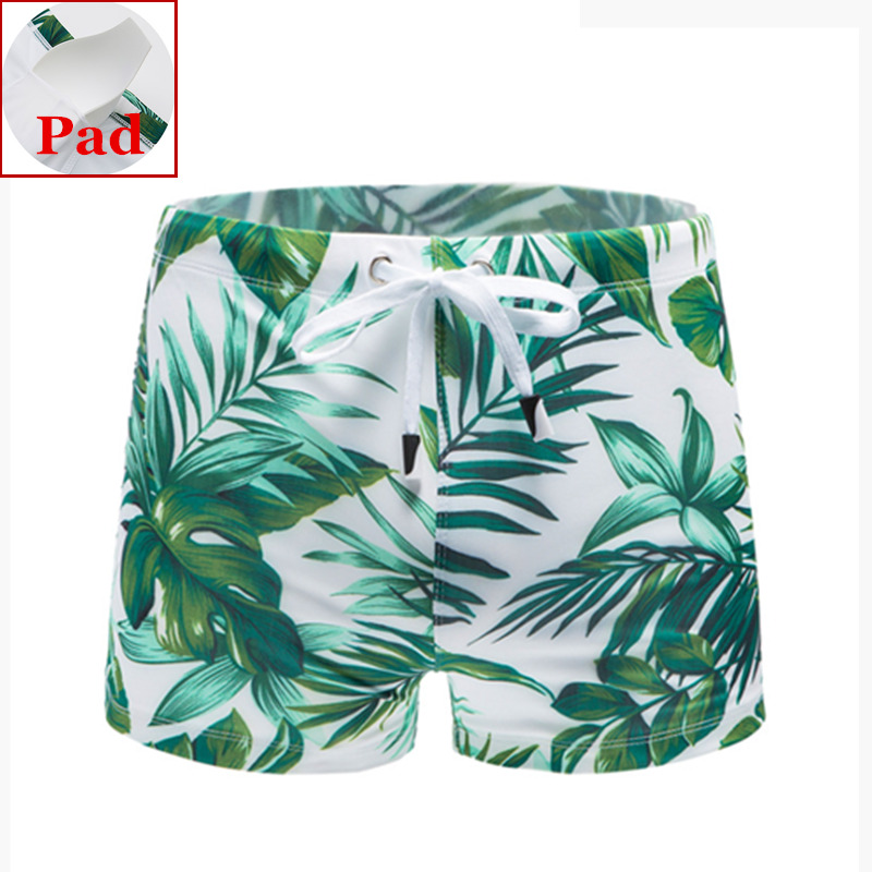Men Summer Beach Drawstring Design Shorts Swimming Lace Up  Short Swimsuit CB