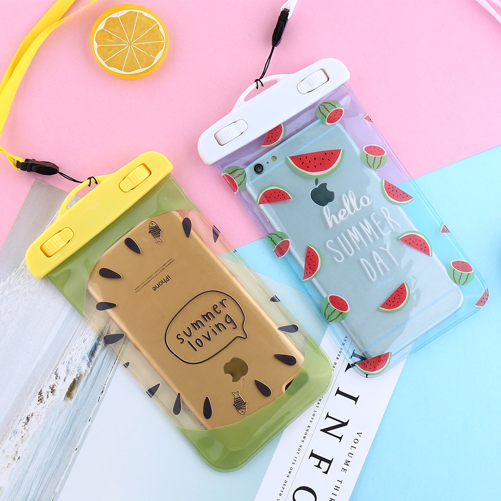 Fruits Printed Waterproof Pouch Case for iPhone