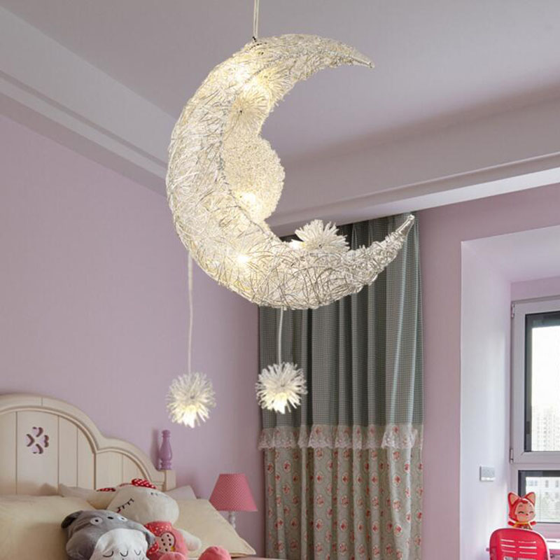 Star Moon Child Room Lamps Creative Personality Chandelier Restaurant Bedroom Warm Lighting led lighting fixture led lamp led