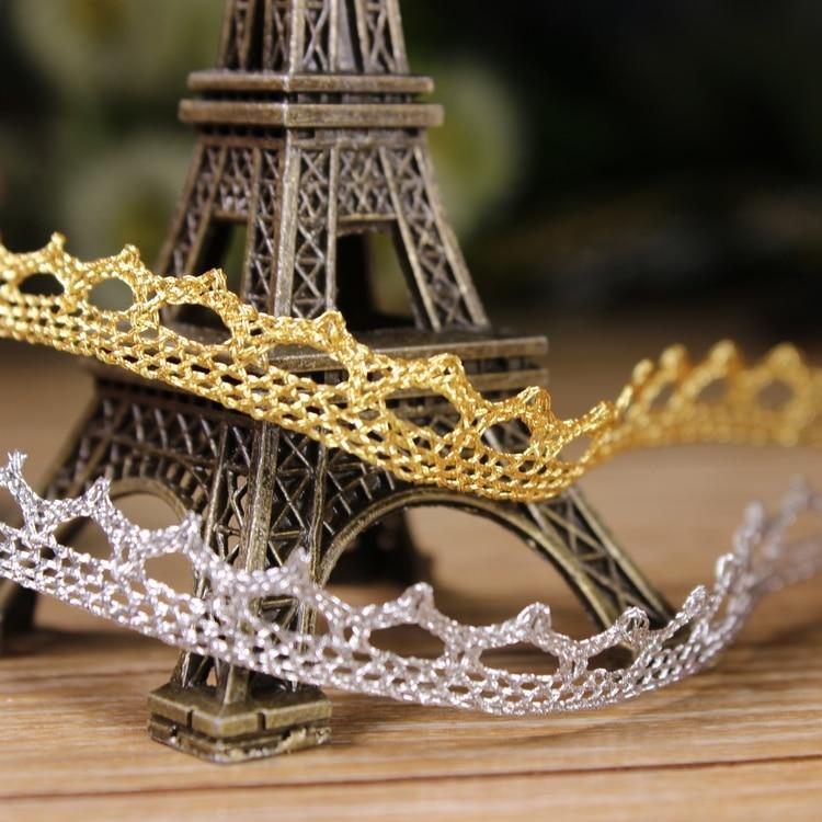 10 Yards 10mm Gold Silver Thread Rayon Wave Lace Fabric Sewing Trim DIY Craft Wedding font