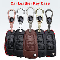 Car-Styling Leather Key Holder Car Key Cover Case For Audi A2 A3 A4 A6 TT High Quality Leather Car Key Cover 3 Button Folding