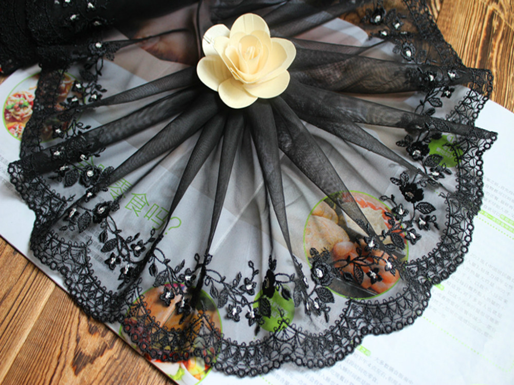"7"" 18cm wide-5yards/lot DIY Craft Black EmbroidereyFloral Tulle Lace Trim Victorian Elegance"