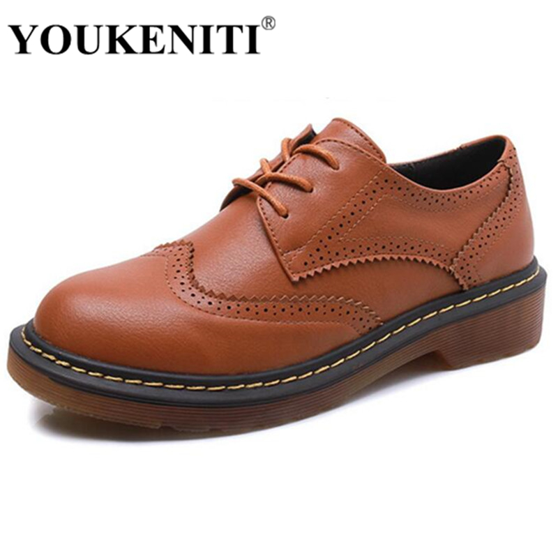 YOUKENITI Shoes Women's Oxfords 2017 Leather Women Shoes Flats 3 Colors Loafers Lace Up Women's Flat Shoes Moccasins Size 43 genuine leather baby shoes lace up toddler baby moccasins mixed colors boys shoes first walkers free shipping