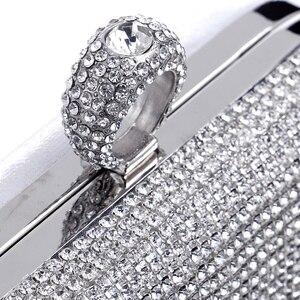 Image 5 - Kwastje Strass Vinger Ring Avondtassen Diamanten Bruiloft Handtassen Vrouwen Dag Koppeling Mini Portemonnee Tas Met Ketting Gemengde Kleur