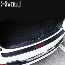 цены Hivotd For Mazda CX-5 CX5 Accessories Car Trunk Rear Bumper Trim Anti-Kicked Scratch Protection Sticker Strip 3D Carbon Fiber