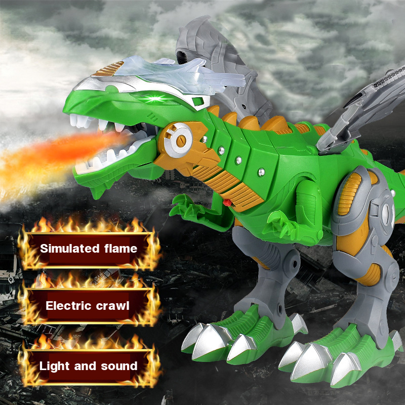 48cm Jurassic Dinosaur Electric Dinosaur Model Toys Mechanical Spray Dinosaurs Sound And Walking Give Boys Gifts New Year Gifts