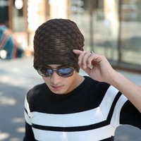 Alishebuy Unisex Men Women Fashion Casual Solid Stretchy Braid Pattern Knitted Beanie Hat Winter