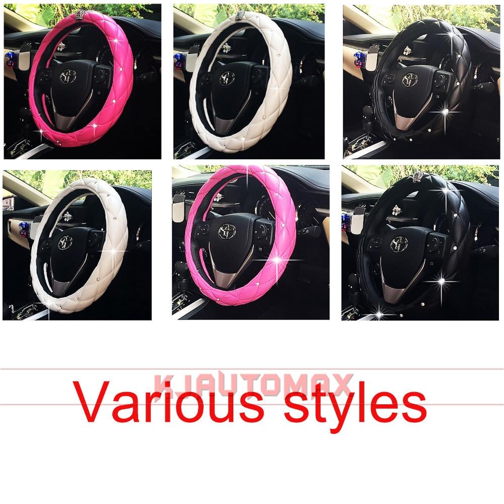 KJautomax 38 CM Purple Crown Multiple colour Diamond Crystal Four Seasons Car steering wheel cover