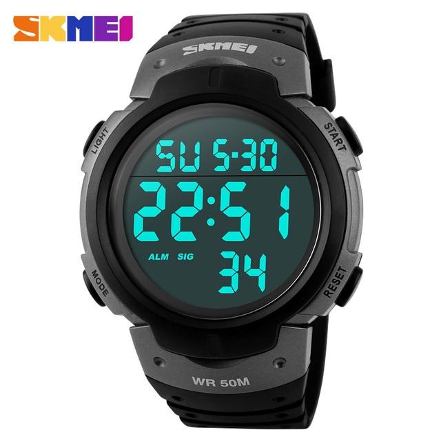 SKMEI Luxury Brand Men Sports Watches Swim 50m Digital LED Military Watch Men Fa