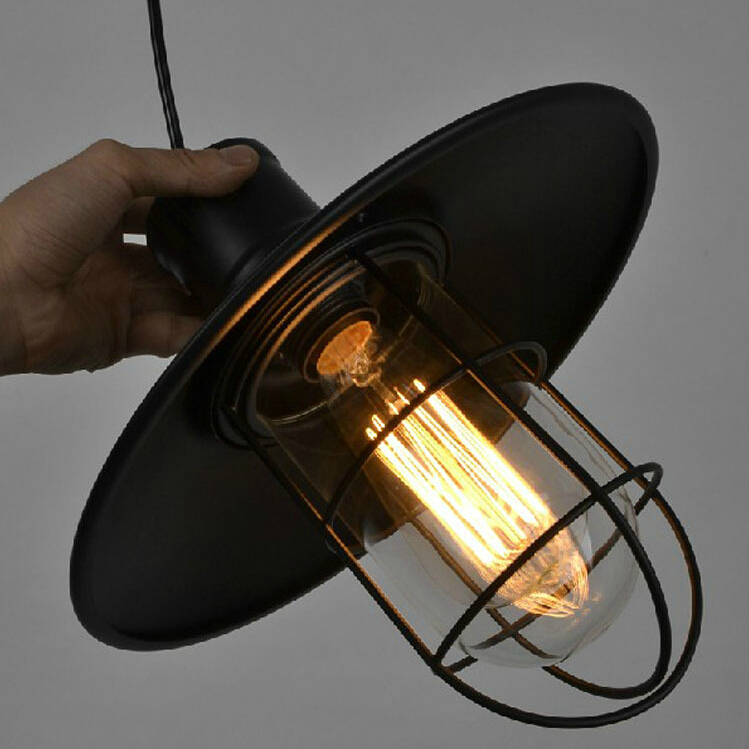Personality American Vintage wrought iron pendant lights E27 Indoor lighting small black LED Pendant lamp glass cage retro pendant lamps black white bedroom boy cartoon child led pendant lighting pendant light wrought iron cage pendant lights