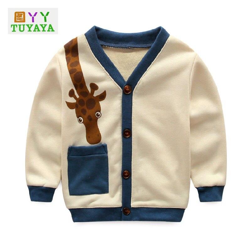 Giraffe Cartoon Boys Cardigan Sweater 2018 Spring Autumn Fashion Children Cotton Long Sleeve T shirt Sport Tops Boys Jacket
