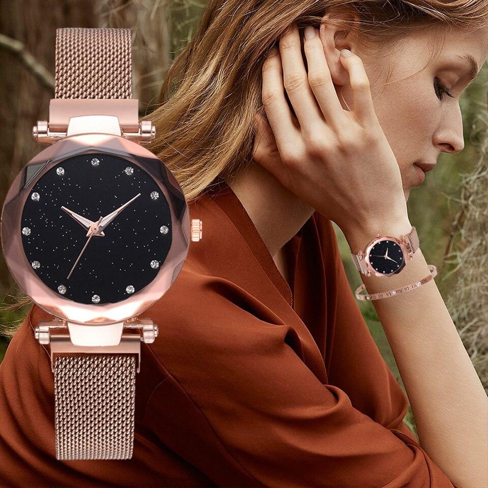 Luxus Gold Uhren Frauen 2018 Neue Mode Starry Sky Armbanduhren Mesh Magnetische Band Wasserdicht Quarz Uhren Montre Femme
