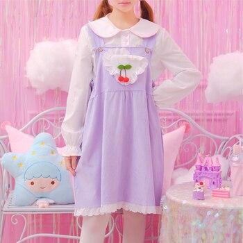 Jesień spódnice miękkie siostra śliczne serce Cherry fioletowy słodkie skoczek spódnica Lolita słodkie japoński pończoch kobiety dorywczo luźne JSK