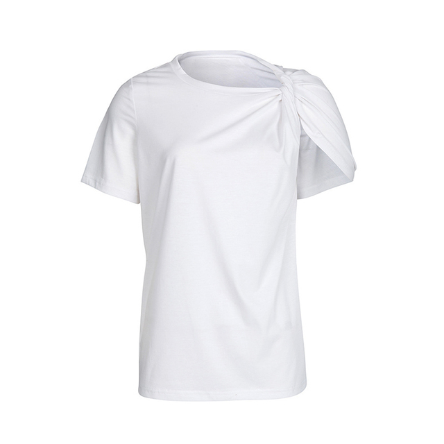 TWOTWINSTYLE Ruched Basic T Shirt For Women Short Sleeve Big Size Irregular White T Shirts Top 2019 Summer Fashion New Clothing 4